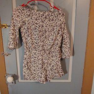 Girls cold shoulder floral romper